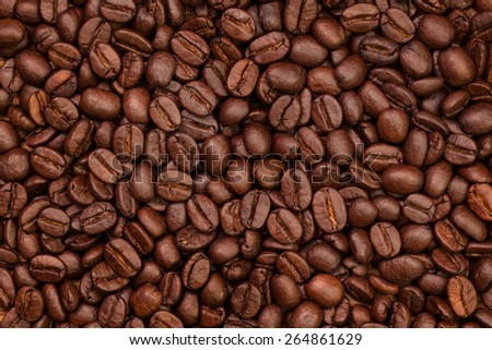 roasted coffee beans, use for background - stock photo