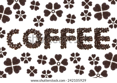 Roasted coffee beans, which looks as a flower - stock photo