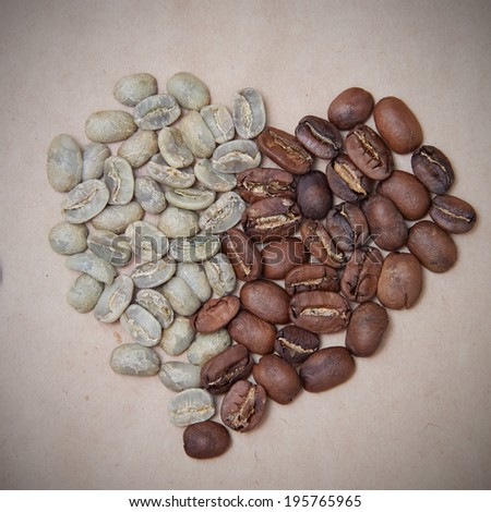 roasted coffee heart symbol - stock photo