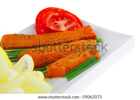 roasted cutlets with potatoes and tomatoes on white - stock photo