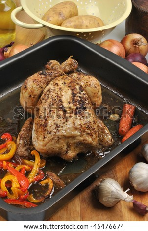 roasted delicious chicken with fresh vegetable
