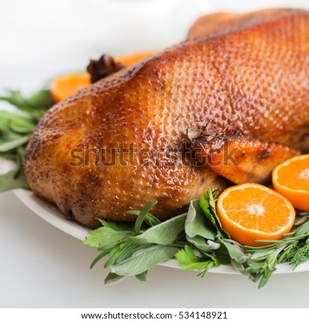 Roasted  duck in honey glaze with spicy herbs and tangerines, selective focus, square image.