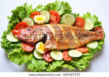 Roasted fish salad with sliced tomatoes, cucumber and lettuce on white background