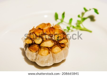 roasted garlic - stock photo