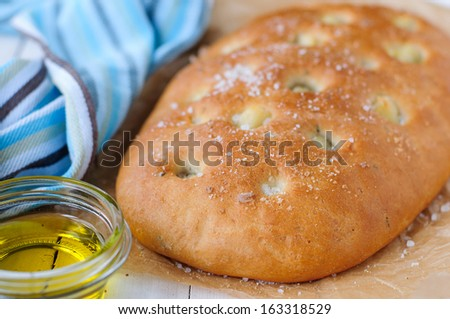 Roasted Garlic Focaccia with Olive Oil - stock photo