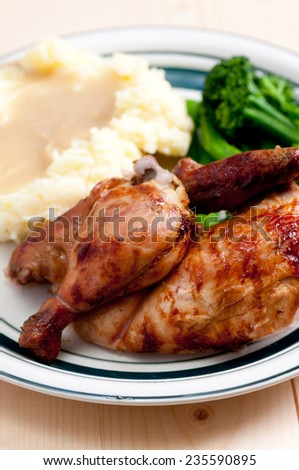 roasted half chicken dinner with mashed potaoes and gravy - stock photo
