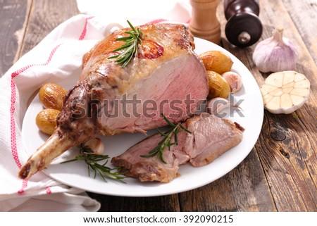 roasted lamb leg - stock photo