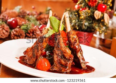 Roasted lamb ribs - stock photo