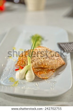 Roasted meat served on a plate, close-up shoot. - stock photo