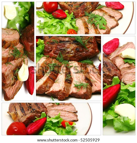 roasted meat served with vegetables on white - stock photo
