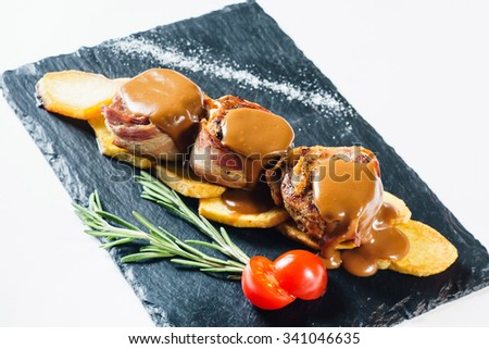 roasted meat with potato - stock photo