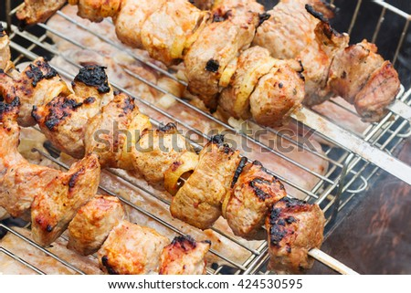 roasted on coal marinated kebabs - stock photo