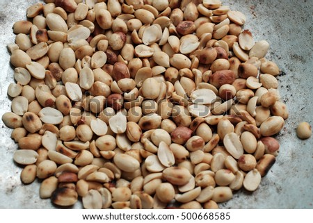 Roasted peanut in pan with Thai style