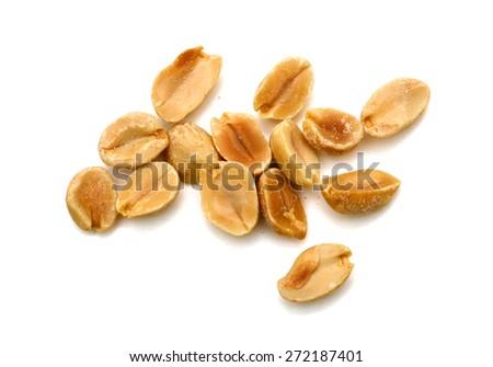 roasted peanuts on white background - stock photo