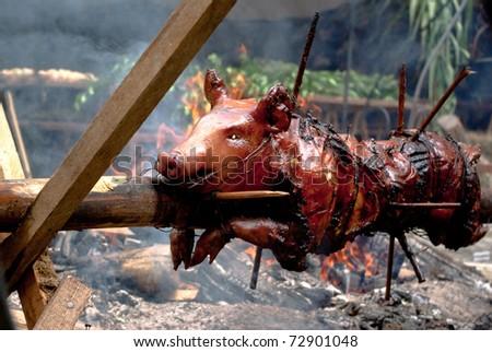 roasted pig - stock photo