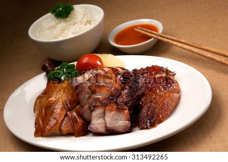 Roasted pork, chicken and duck - stock photo