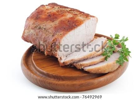 Roasted pork loin isolated on white background - stock photo