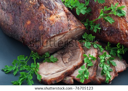 Roasted pork on the plate - stock photo