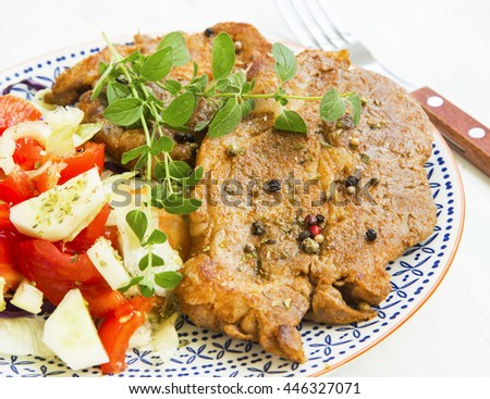 Roasted pork steak with oregano,spices and vegetable salad on rustic plate - stock photo