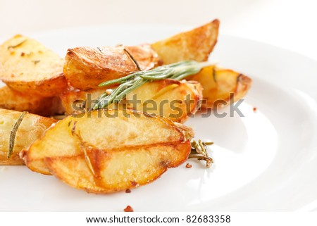roasted potatoes - stock photo
