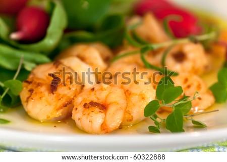 Roasted Prawns with Salad of Corn Salad,radish,Cherry Tomatoes - stock ...