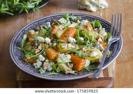 Roasted root and rocket salad - stock photo