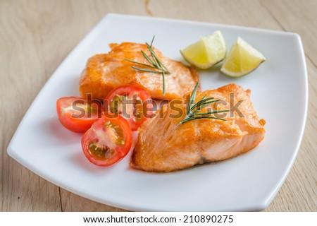 Roasted salmon steak - stock photo