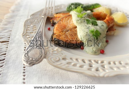 Roasted salmon with sauce - stock photo