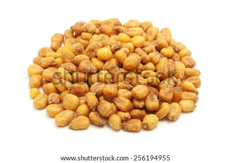 Roasted salted corn nuts on a white background