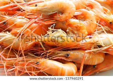 Roasted salted shrimps - stock photo