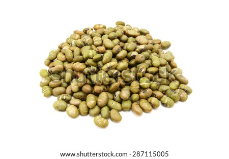 Roasted salted soy nuts, isolated on a white background - stock photo