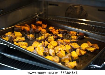 Roasted Sweet Potatoes - stock photo