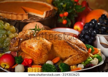 Roasted Thanksgiving Turkey - stock photo