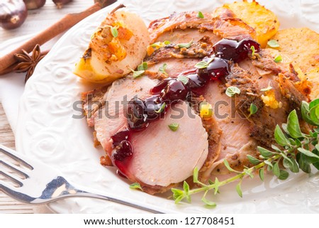 roasted turkey - stock photo