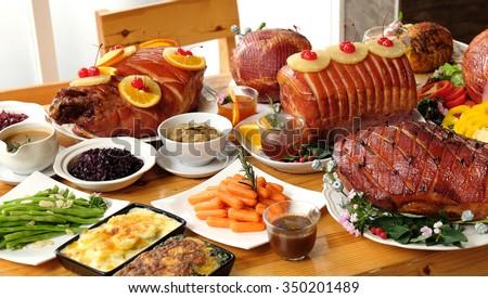 christmas ham dinner table - photo #5