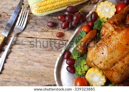 Roasted turkey chicken for thanksgiving day - stock photo