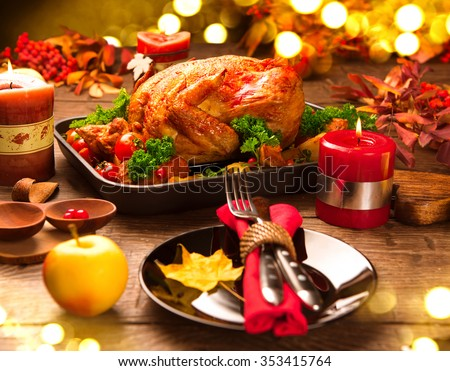 Roasted Turkey Christmas Dinner Table Served Stock Photo \u0026 Image (Royalty-Free) 353415764 - Shutterstock & Roasted Turkey Christmas Dinner Table Served Stock Photo \u0026 Image ...