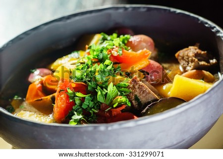 roasted vegetables with meat