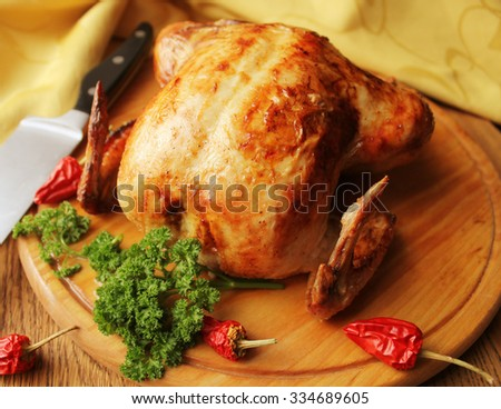 Roasted whole chicken  - stock photo