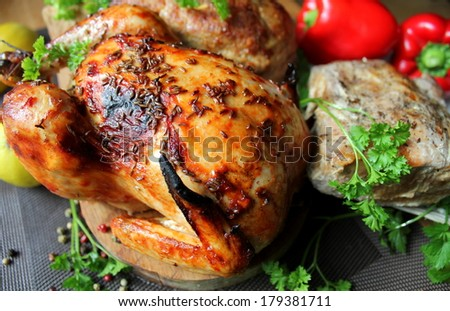 Roasted whole chicken, fillet, meatloaf  - stock photo