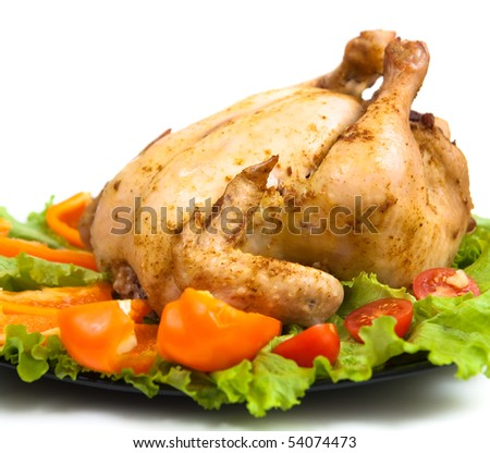 Roasted whole chicken with vegetable and salad - stock photo