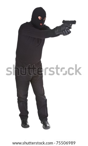 robber aiming with his gun isolated on white - stock photo