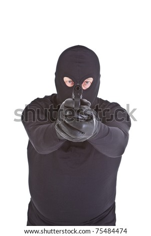 robber aiming with his gun isolated on white, focus set on gun - stock photo
