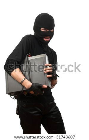 Robber in a mask with device in hands isolated over white