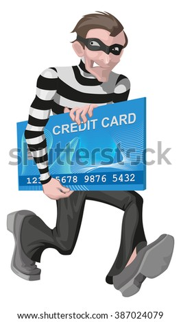 Robber man stole credit card. Stealing money online. Isolated on white illustration - stock photo