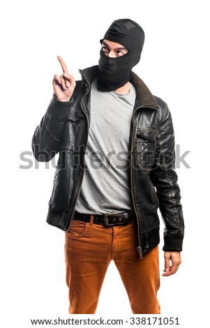 Robber pointing up - stock photo