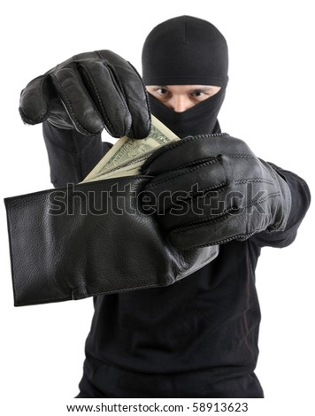 Robber  takes money from stolen wallet isolated on white background. - stock photo