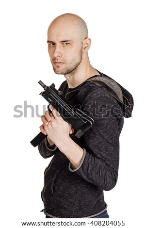 Robber with a gun. law, police, violence concept. Image on a white background. - stock photo