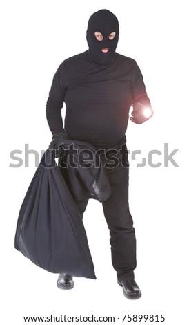 robber with flashlight and sack isolated on whitebackground - stock photo