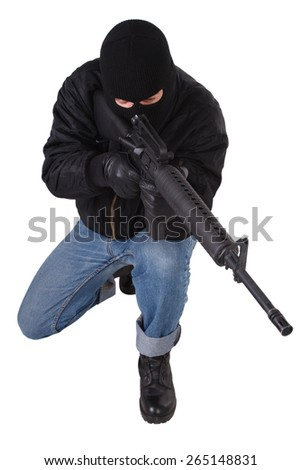 Robber with M16 rifle isolated on white background